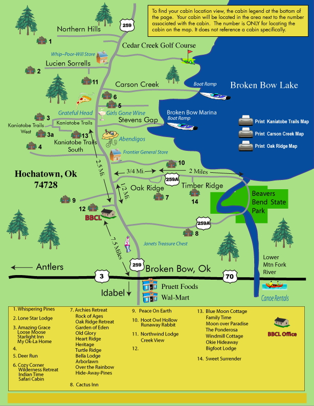 Broken Bow cabin map | Broken Bow cabins in 2019 | Broken