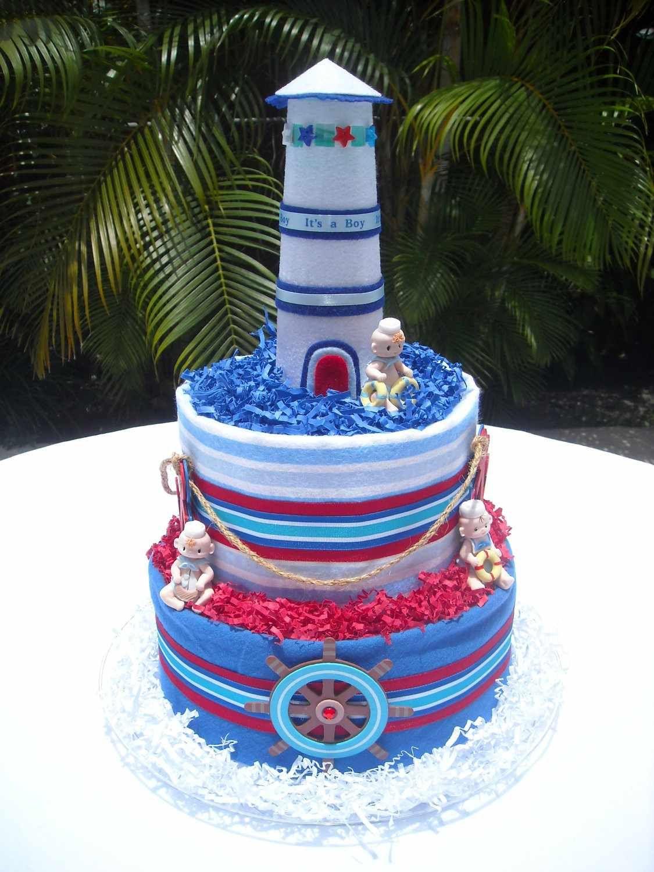 Lighthouse Diaper Cake My Baby Shower Pinterest