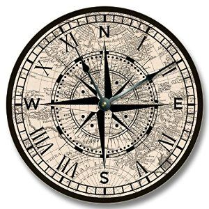 Amazon Com Compass Rose With Old Map Pattern Wall Clock