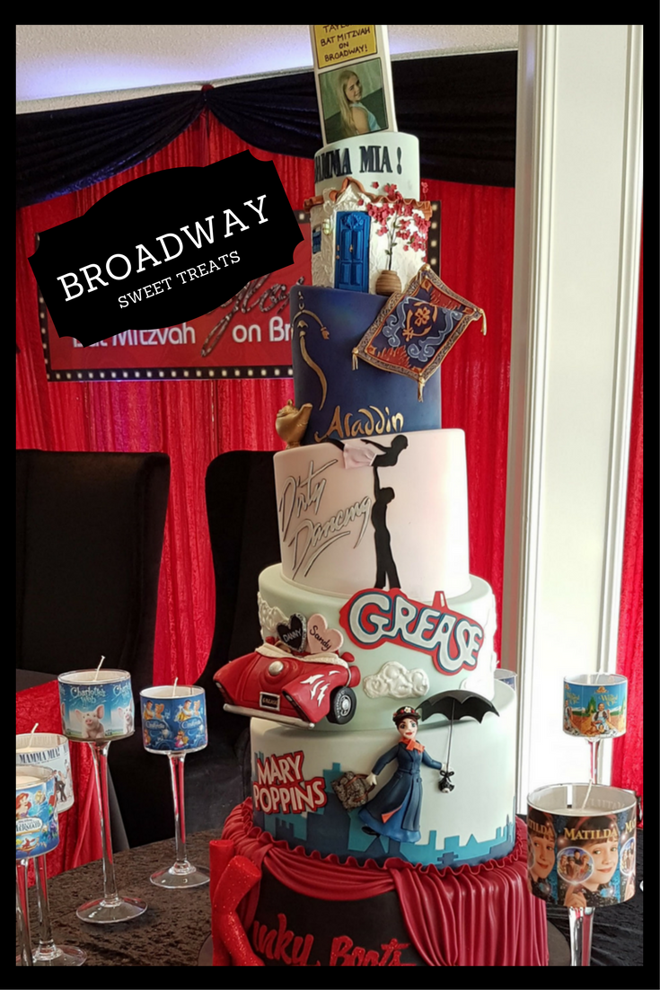 This Broadway themed, 3D, tiered Bat Mitzvah cake was a huge hit for the Bat Mitzvah girl in Toronto. www.simchastyle.com