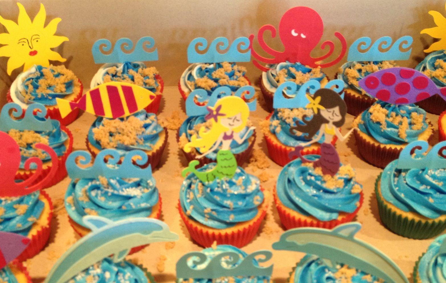 Cupcake Toppers Made With Life Is A Beach Cricut Cartridge Joyful Designs Erie Pa