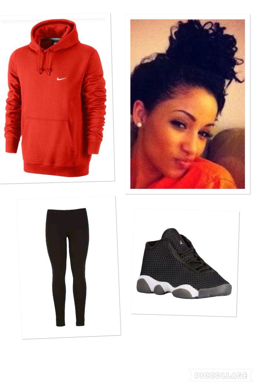 premium selection 98f97 4f4f4 Jordan horizon, black leggings and red Nike hoodie with ...