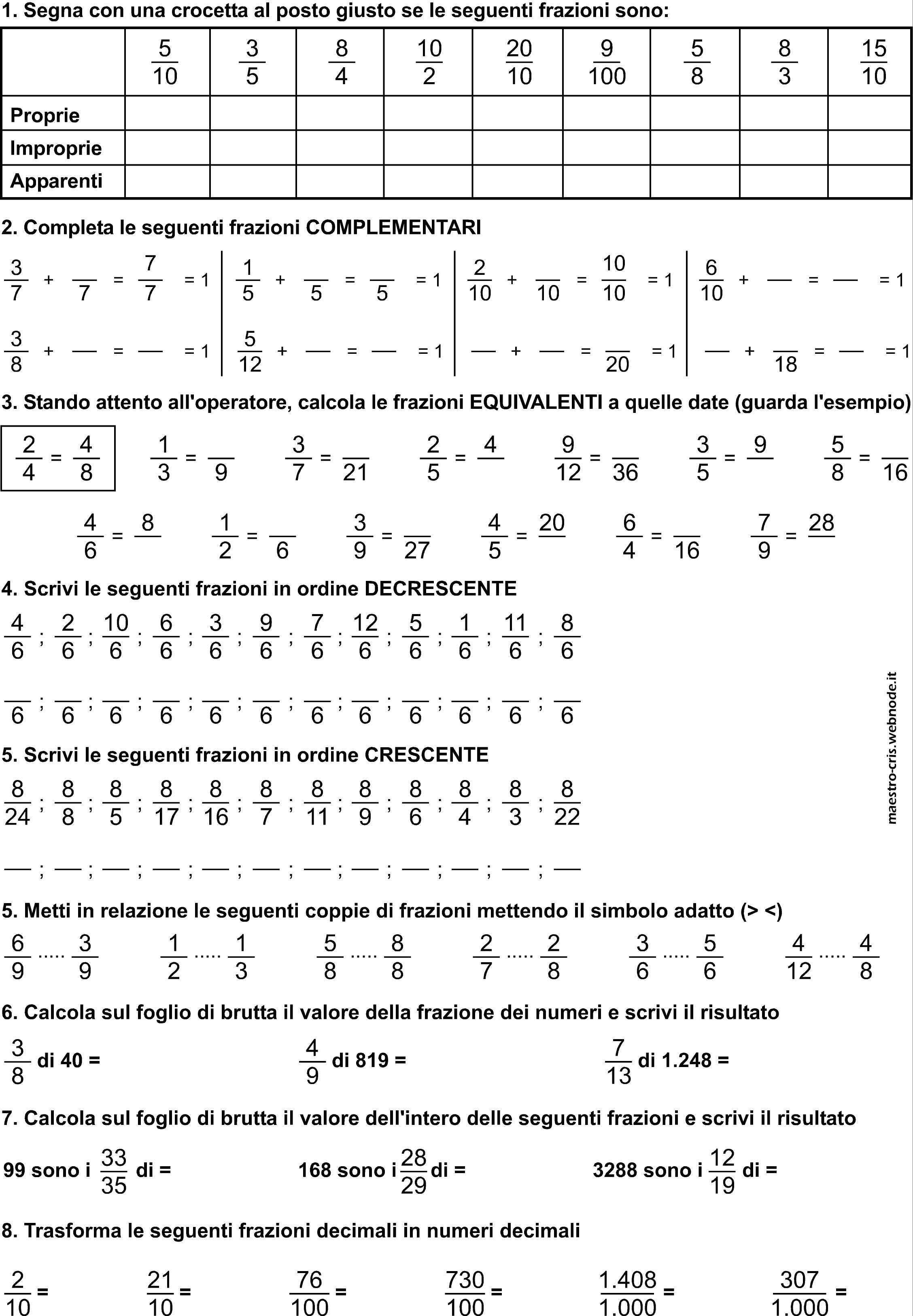 MATEMATICA :: Maestro-Cris   Matematica elementari, Schede ...