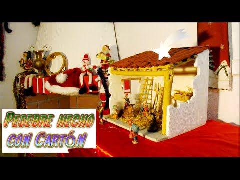 Manualidades para navidad pesebre hecho con carton portal - Belen navideno manualidades ...