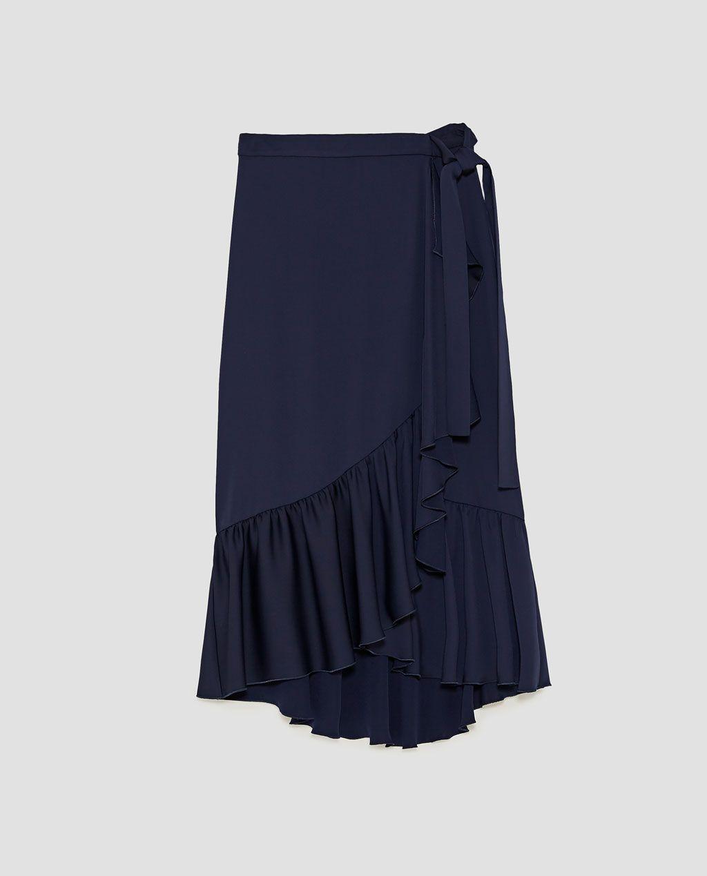 Navy Midi Wrap Skirt