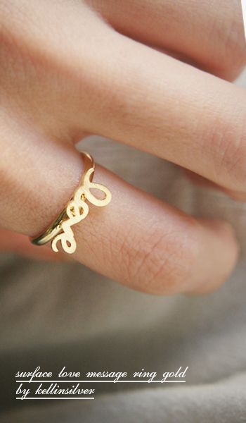 Surface Love Gold Ring at Kellinsilver.com – gold love ring, love band ring, love message jewelry, love ring ETSY