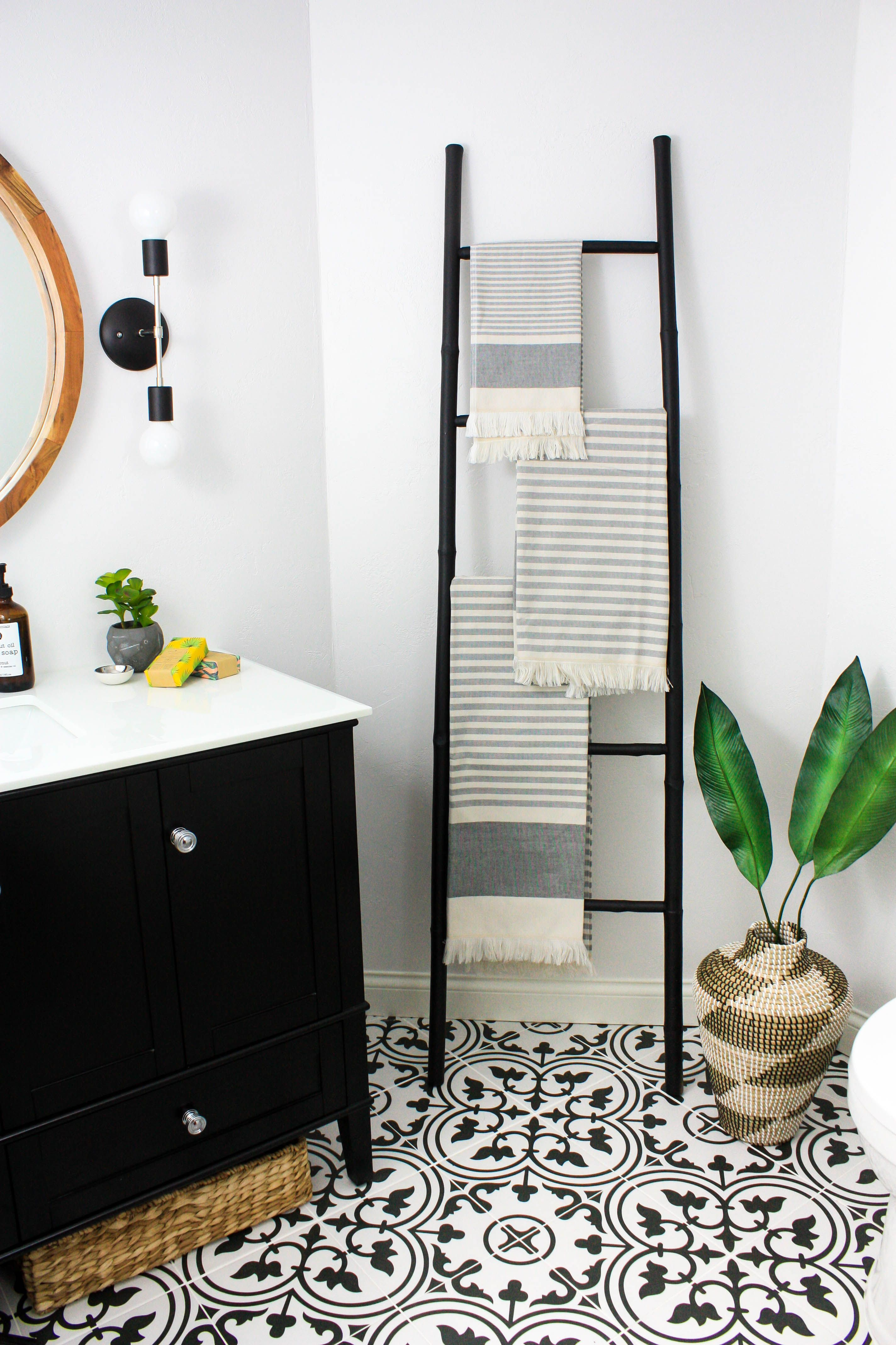 Transitional Black And White Bathroom Reveal W Collective Interiors White Bathroom Black White Bathrooms Home Decor
