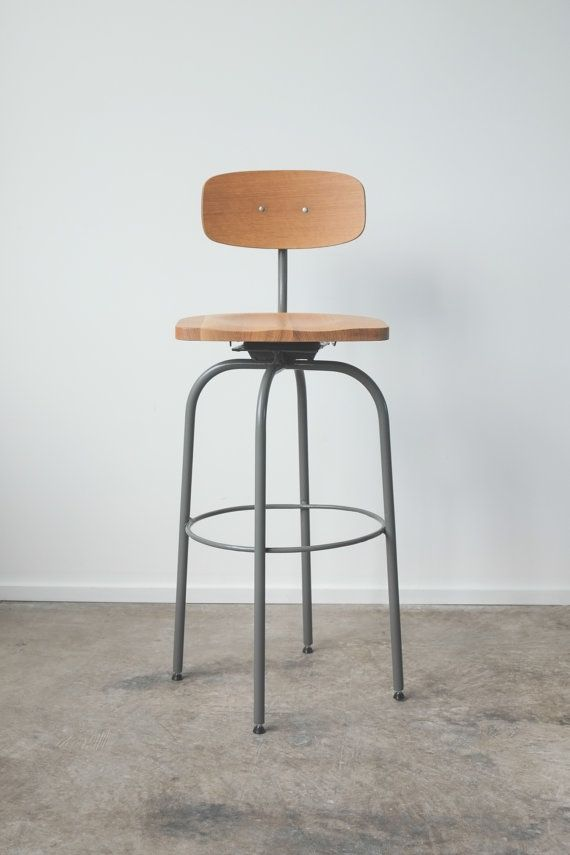 The Barbican Oak And Steel Bar Stool Chair Bar Stools