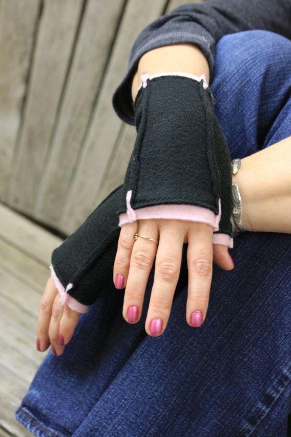 Reversible Fingerless Gloves Good Girl Bad Girl by sanhar131