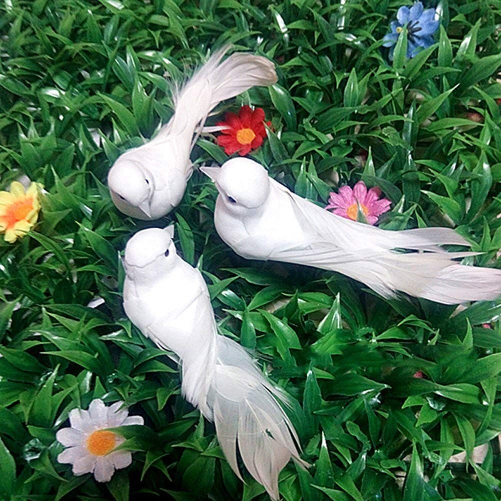 Decorative fake doves mini artificial foam feather vivid