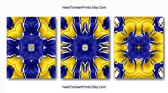 Yellow wall art prints blue decor navy abstract rustic living room bedroom set of floral also rh pinterest