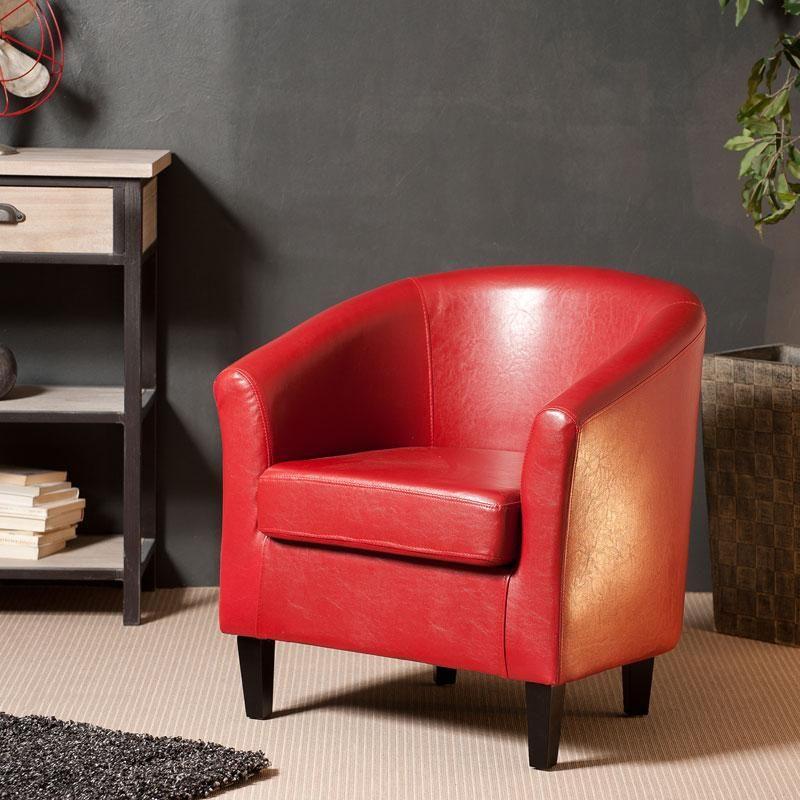Fauteuil cabriolet en cuir synthétique rouge KATIE Maison Facile