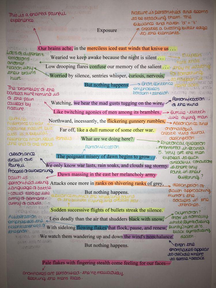 English Gcse Exposure Poem Gcse Poems Gcse English Literature Poem Analysis