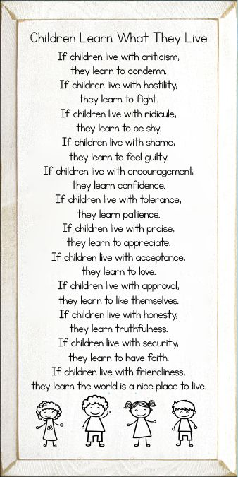 Children Learn What They Live Poem Wood Sign Quotes