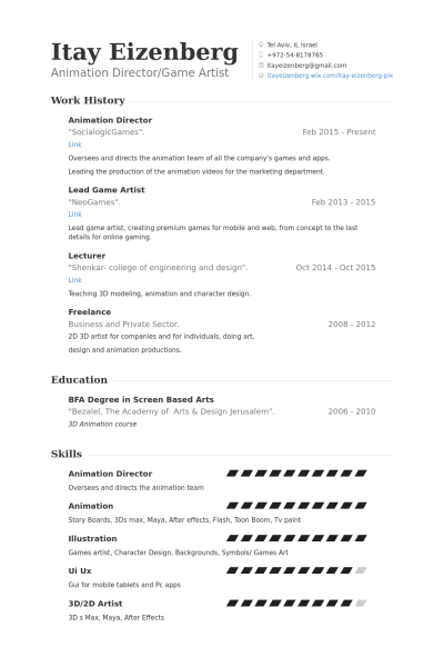 3D Animator | Resume format, Resume, Professional resume samples