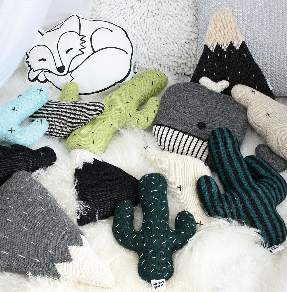 Knitted cactus cushion mint blue piles of pillows pinterest