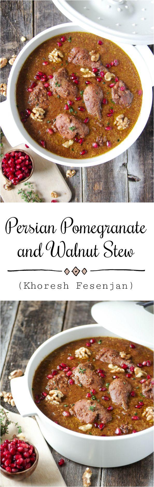 Persian Pomegranate and Walnut Stew (Khoresh Fesenjan ... Persian Pomegranate And Walnut Chicken Stew