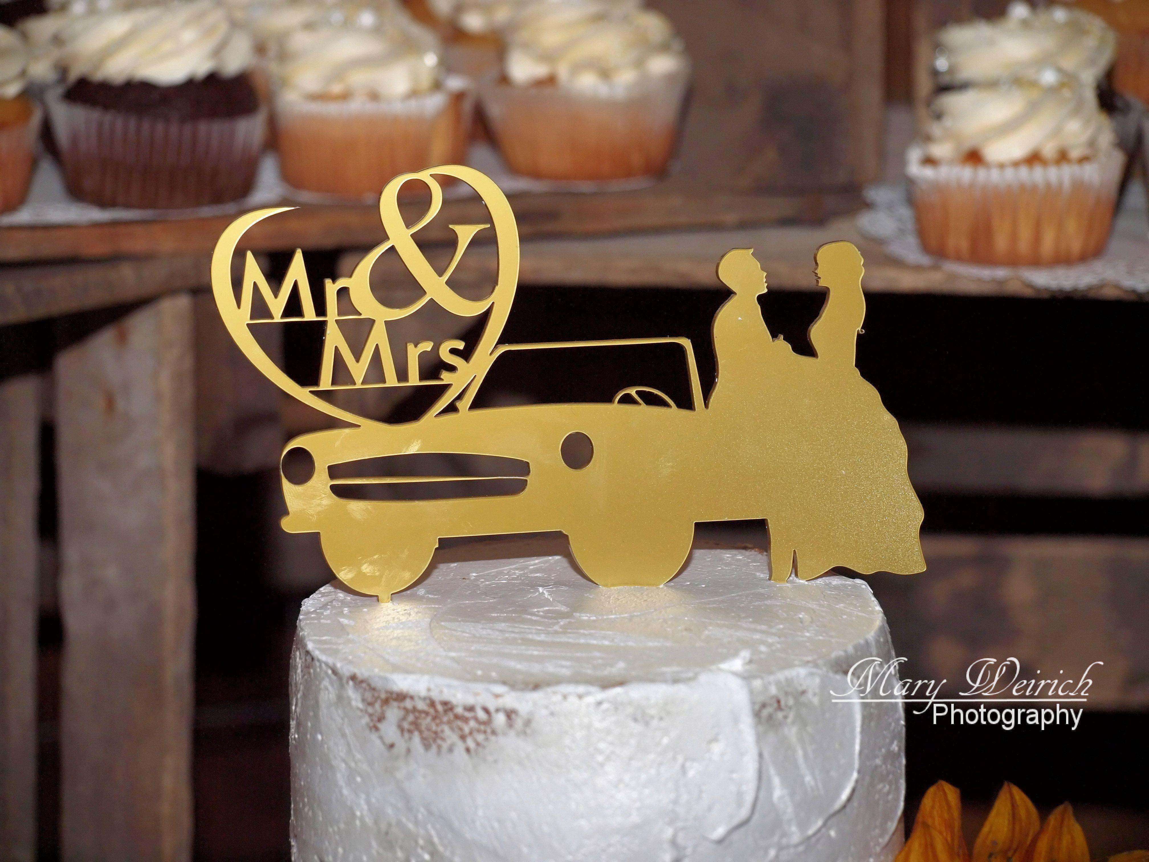 Ford Mustang Vintage Car Wedding Cake Topper Bride Groom Cake Top Wedding Cake Wedding Cake Topper Car Vintage Car Wedding Wedding Cake Toppers