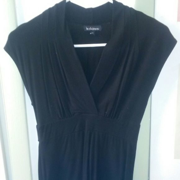 Black dress shirt Black long criss cross front fitted bottom le chateau Tops