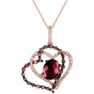 Le Vian Rhodolite Garnet 1/4 ct tw Diamonds 14K Gold Necklace tPrKqLuh