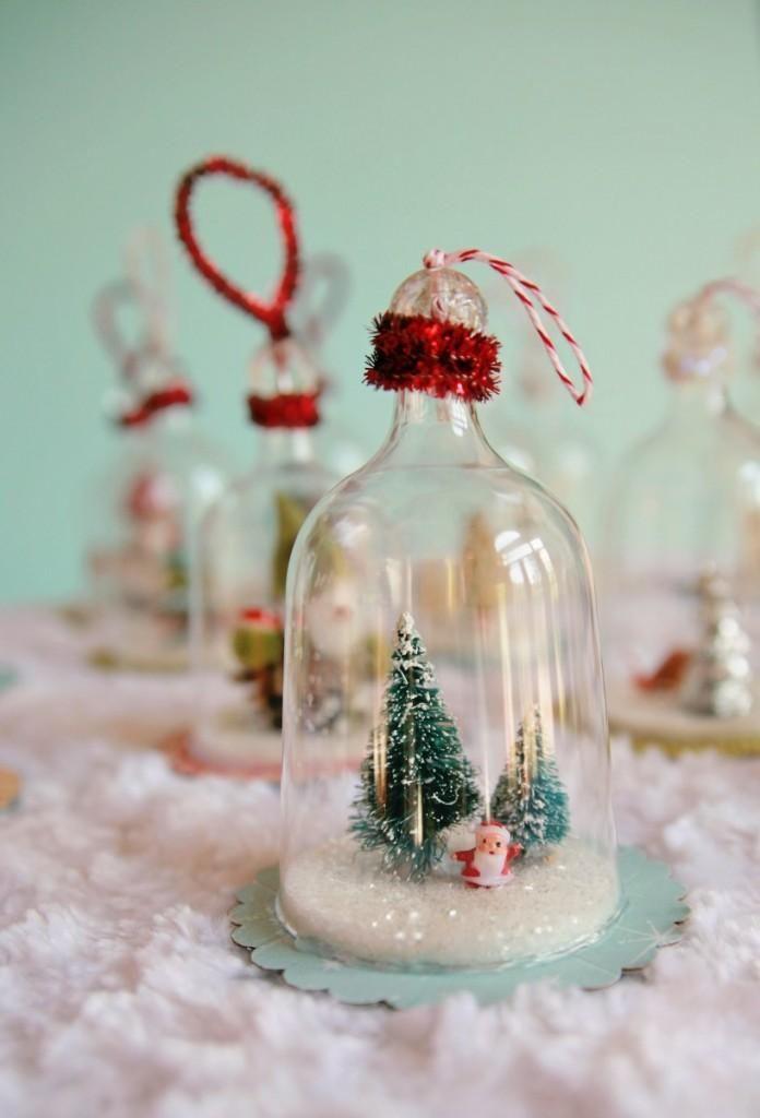 DIY Snow Globes  DIY Vintage Inspired Bell Jar Ornaments DIY Snow - christmas decorations diy