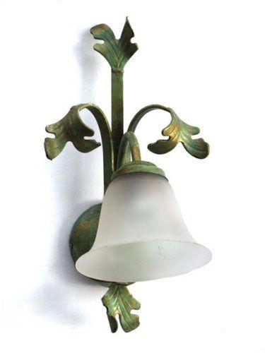 Wandlampe Metall grün gold antikisiert Glasschirm EDEL
