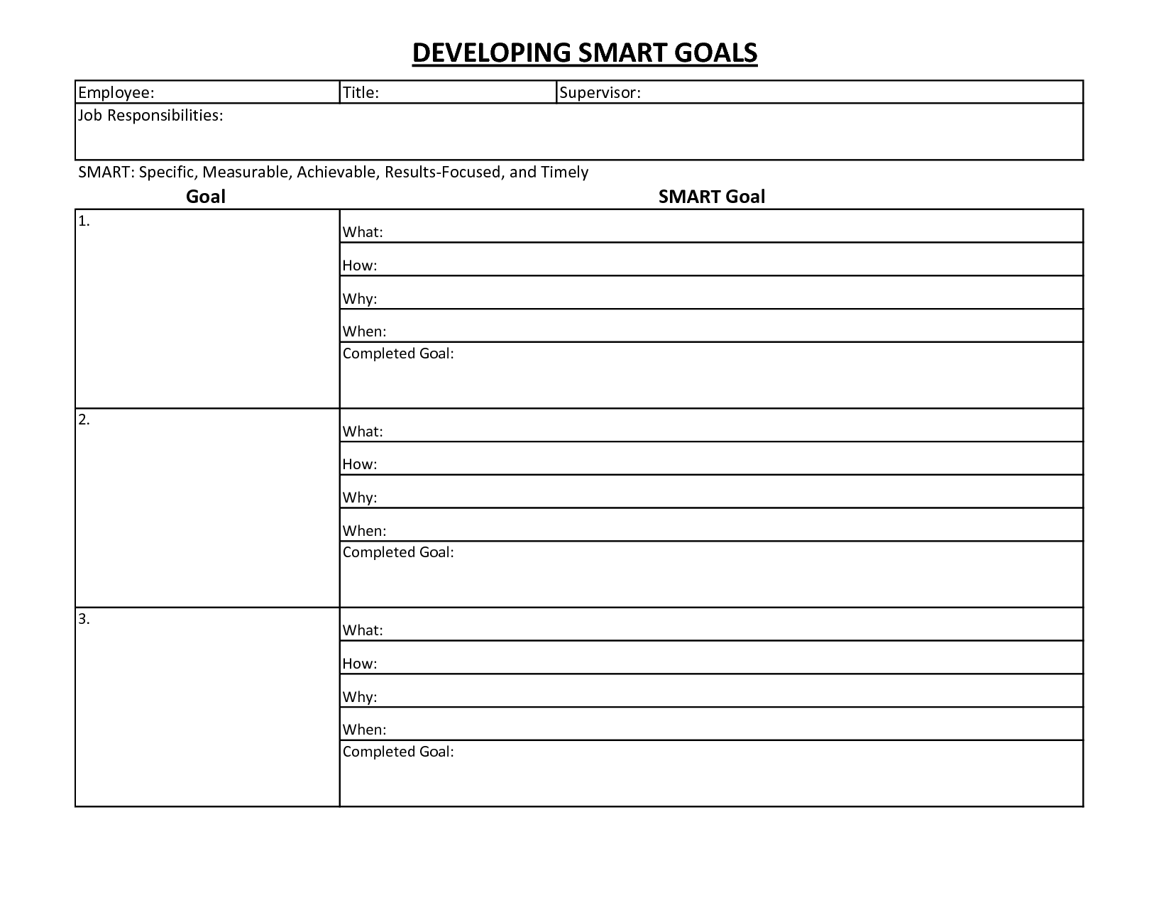 Smart Goal Worksheet Template With Images