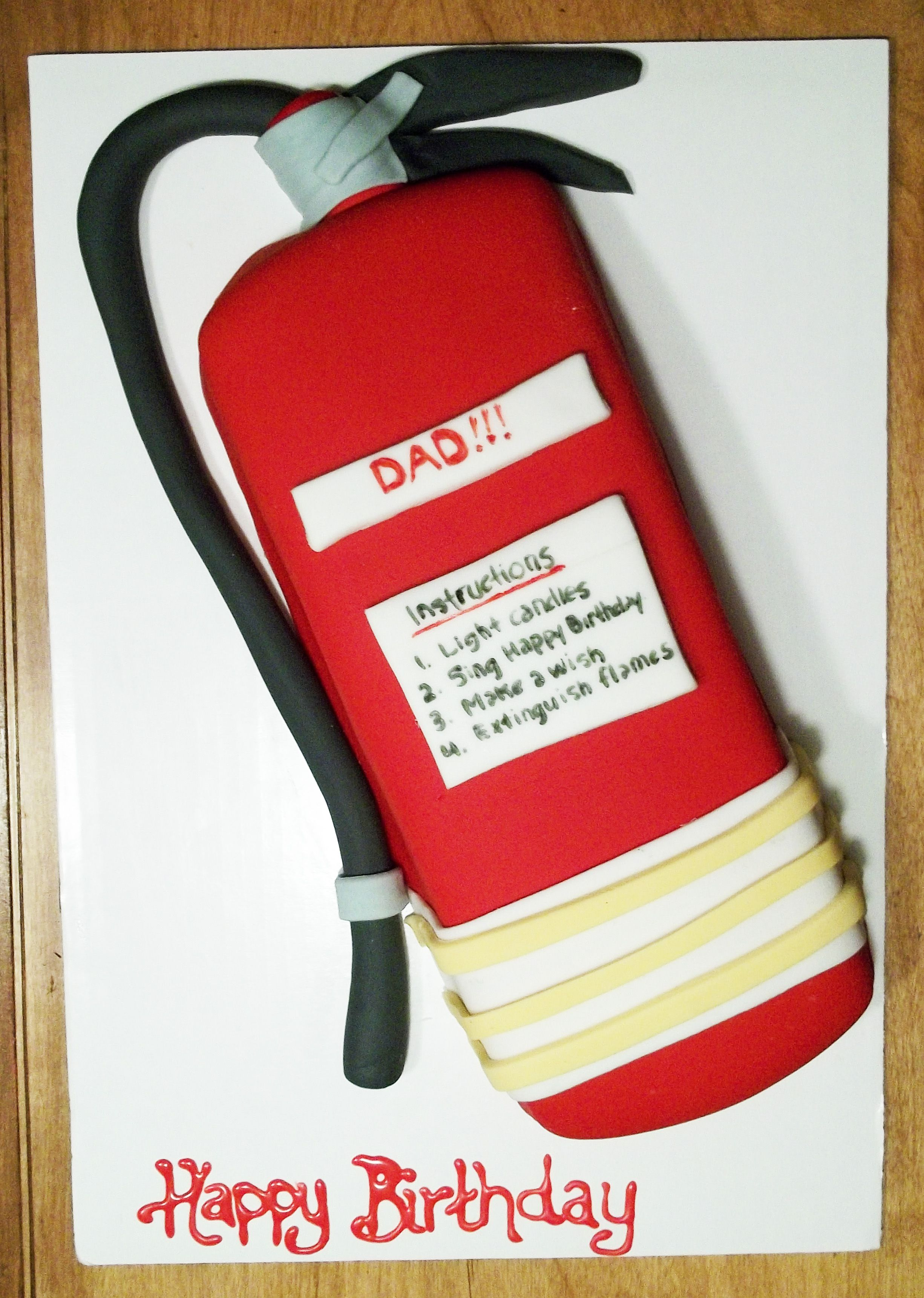 Fire extinguisher cake firetruck birthday fireman cake