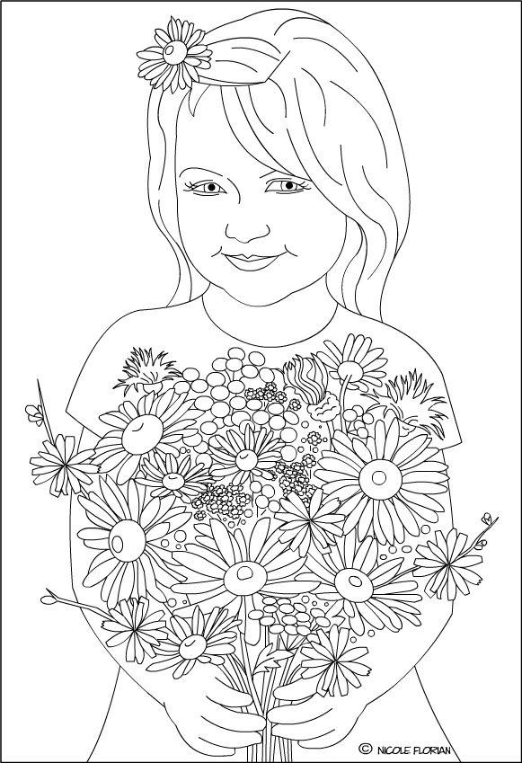 nicoles free coloring pages wildflowers for a happy day coloring page fetita cu flori de camp desen de colorat
