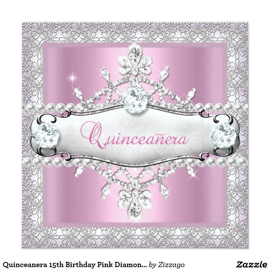 Quinceanera 15th Birthday Pink Diamond Tiara Invitation ...
