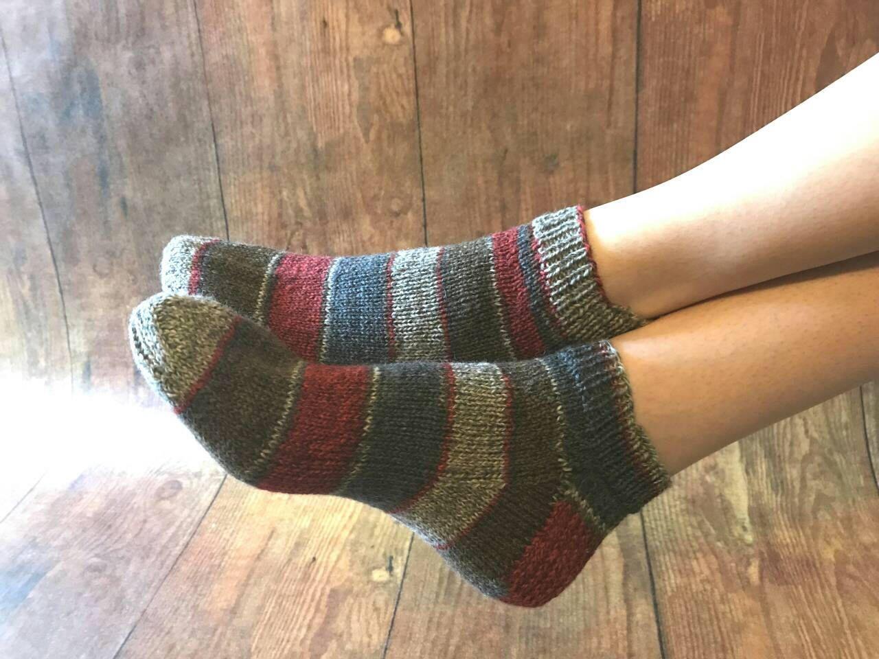 836bf9a3867d Ankle socks {hand knit} red, grey & brown stripe- slipper socks ...
