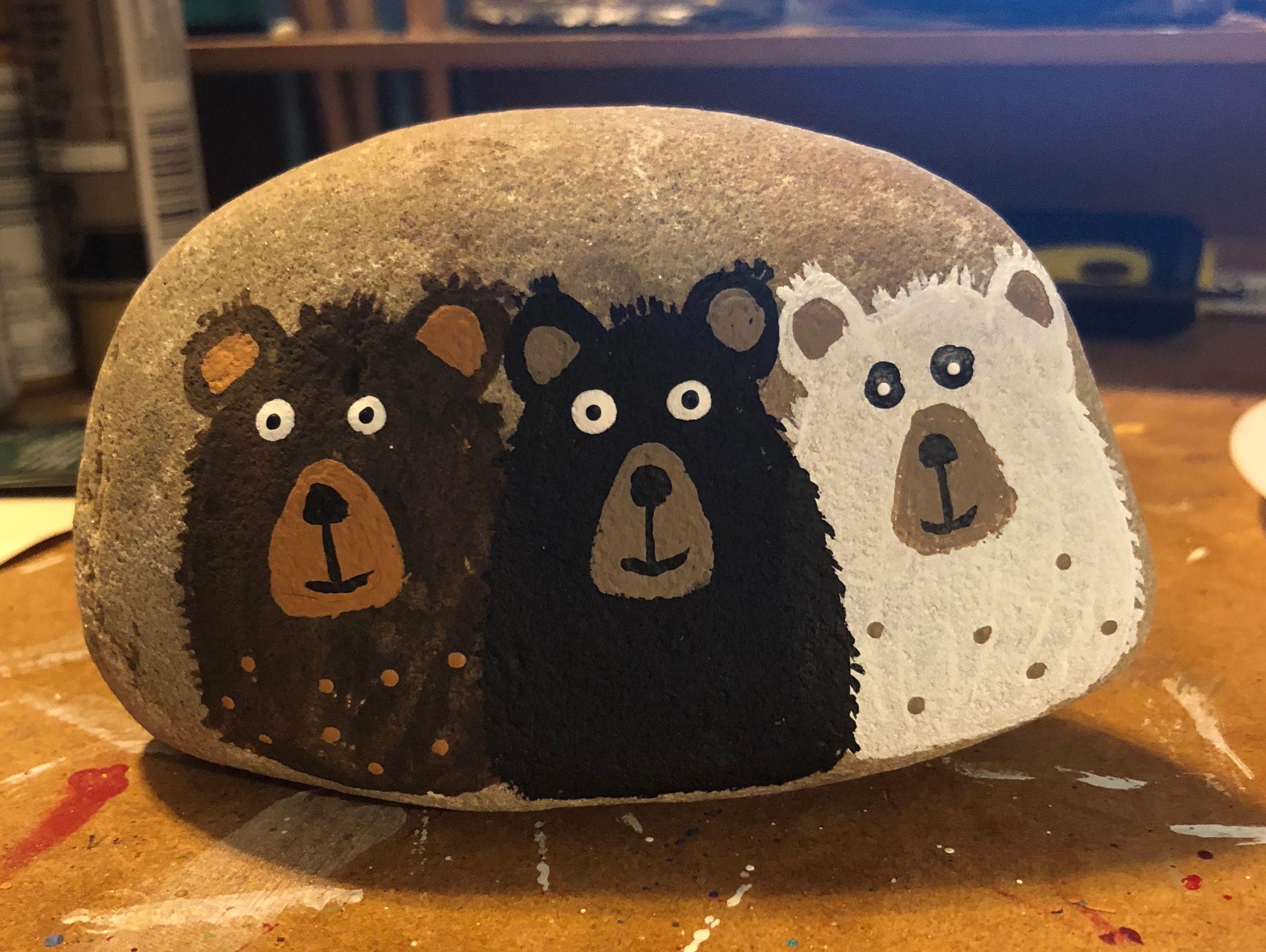 Hand Painted Rocks Animal Rocks Polar Bear Rock Personalized Rocks Alaska Rocks Polar Bear Booty