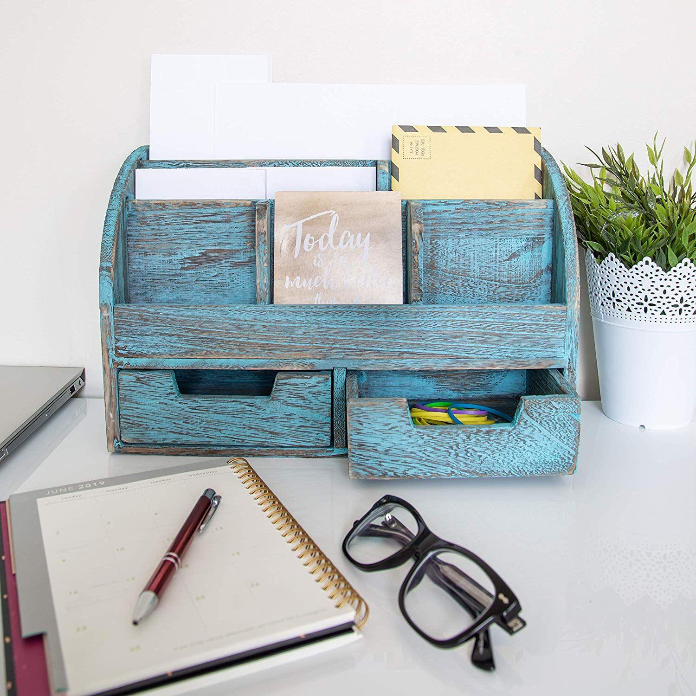 Rustic Wooden Desk Organizer For Home Or Office Mail Rack For Desktop Tabletop Or Counter Desk Wooden Desk Organizer Desk Organization Rustic Wooden Desk
