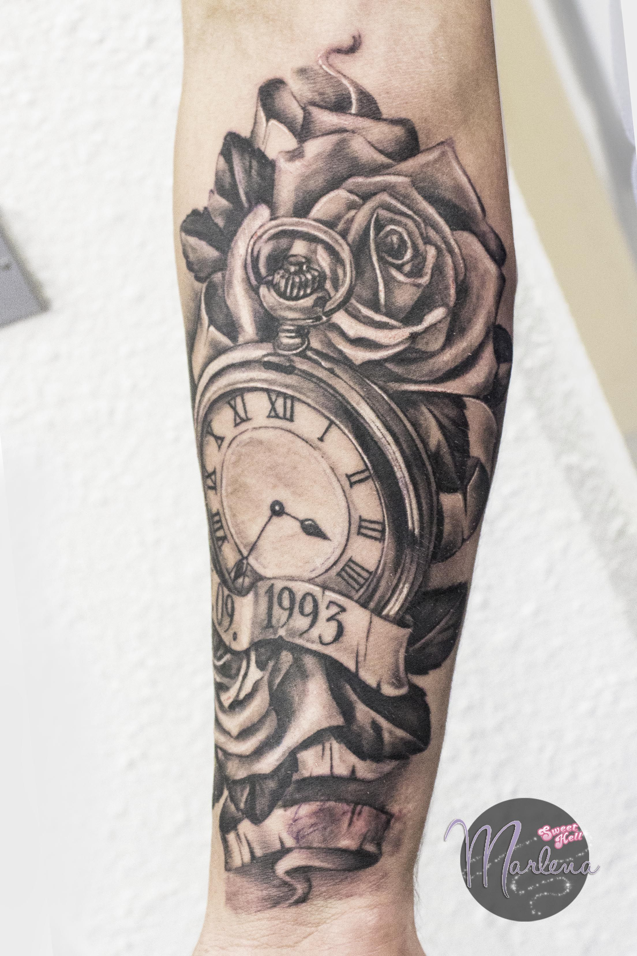 Clock forearm black rose sleeve tattoo - Memorial Tattoo Realistic Pocket Watch Roses And Birth Date Memorialtattoo Pocketwatch