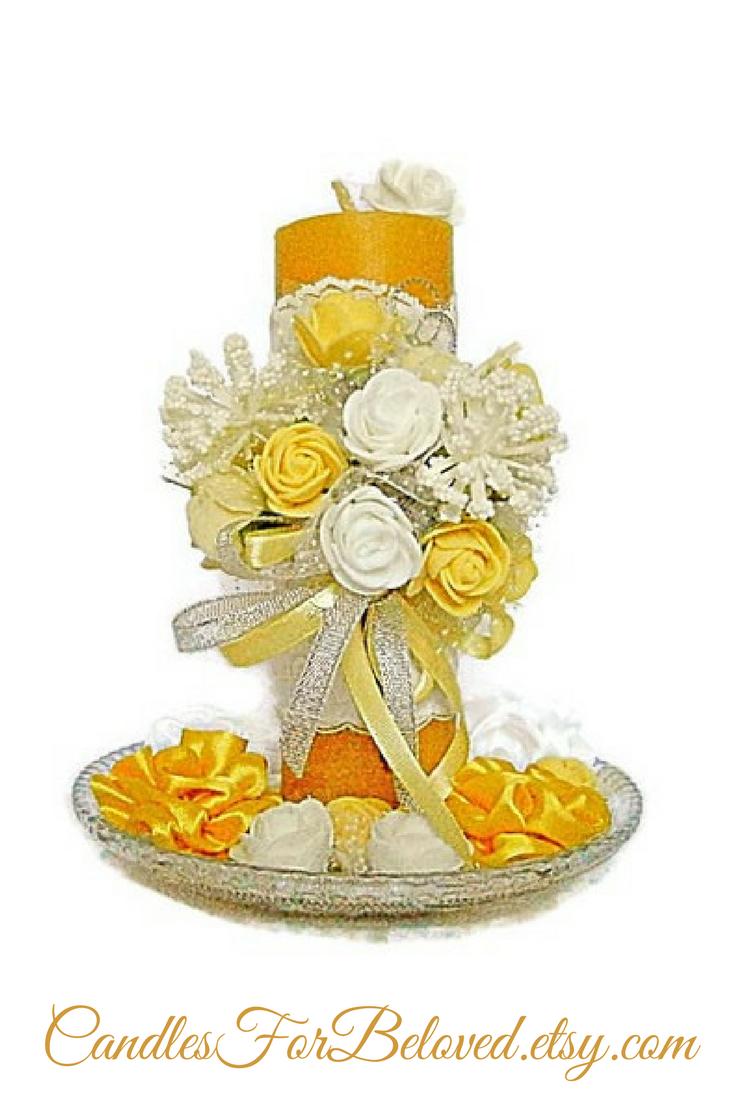 Beeswax candle decor mustard yellow wedding candle pillar candle