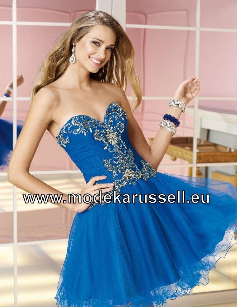 Trägerloses Kurzes Cocktail Kleid mit Herz Ausschnitt in Dunkel Blau ...