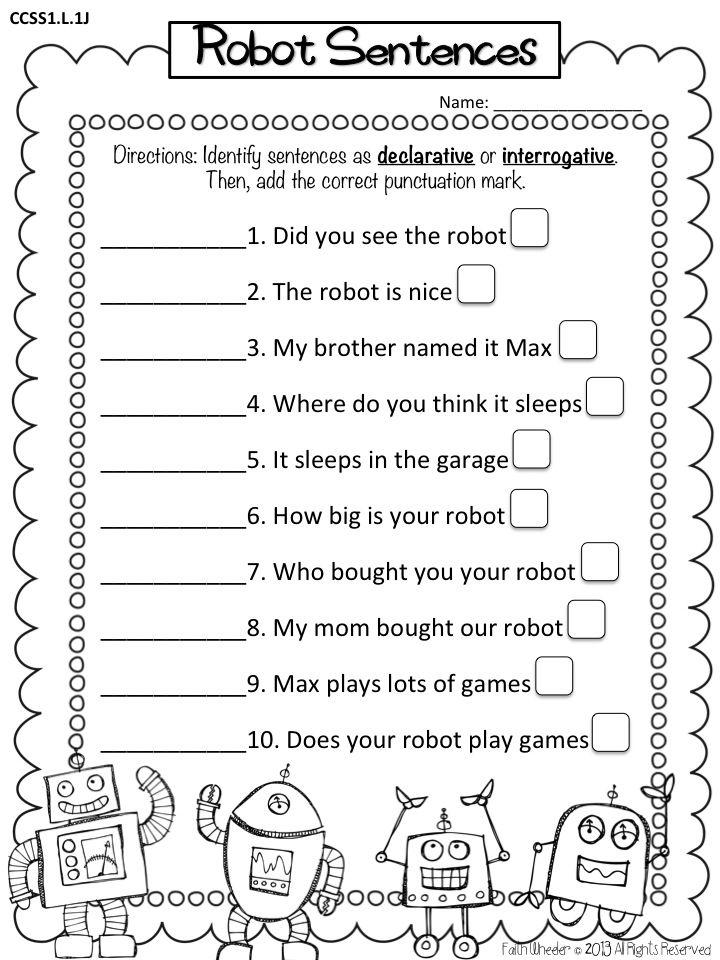 robot sentences punctuation school kids types of sentences types of sentences worksheet. Black Bedroom Furniture Sets. Home Design Ideas