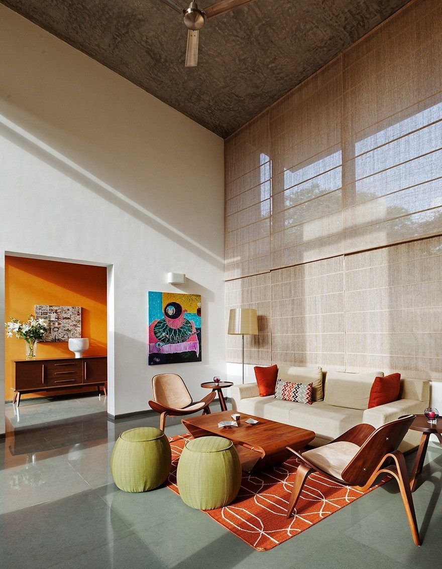 This bangalore house featuring mid century classics furniture and contemporary art