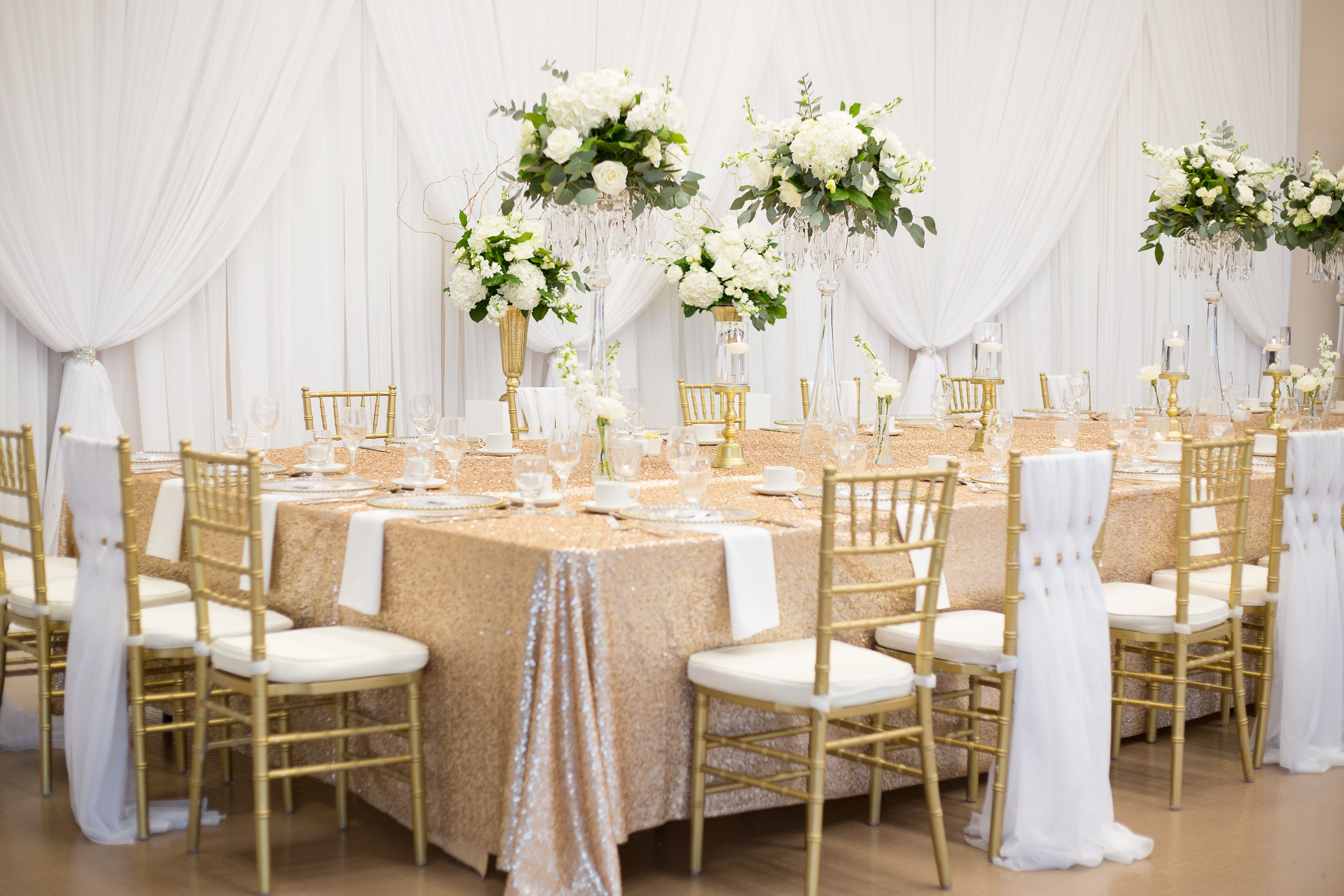 Gold Sequin Head Table White Backdrop Gold Chiavari Chairs With