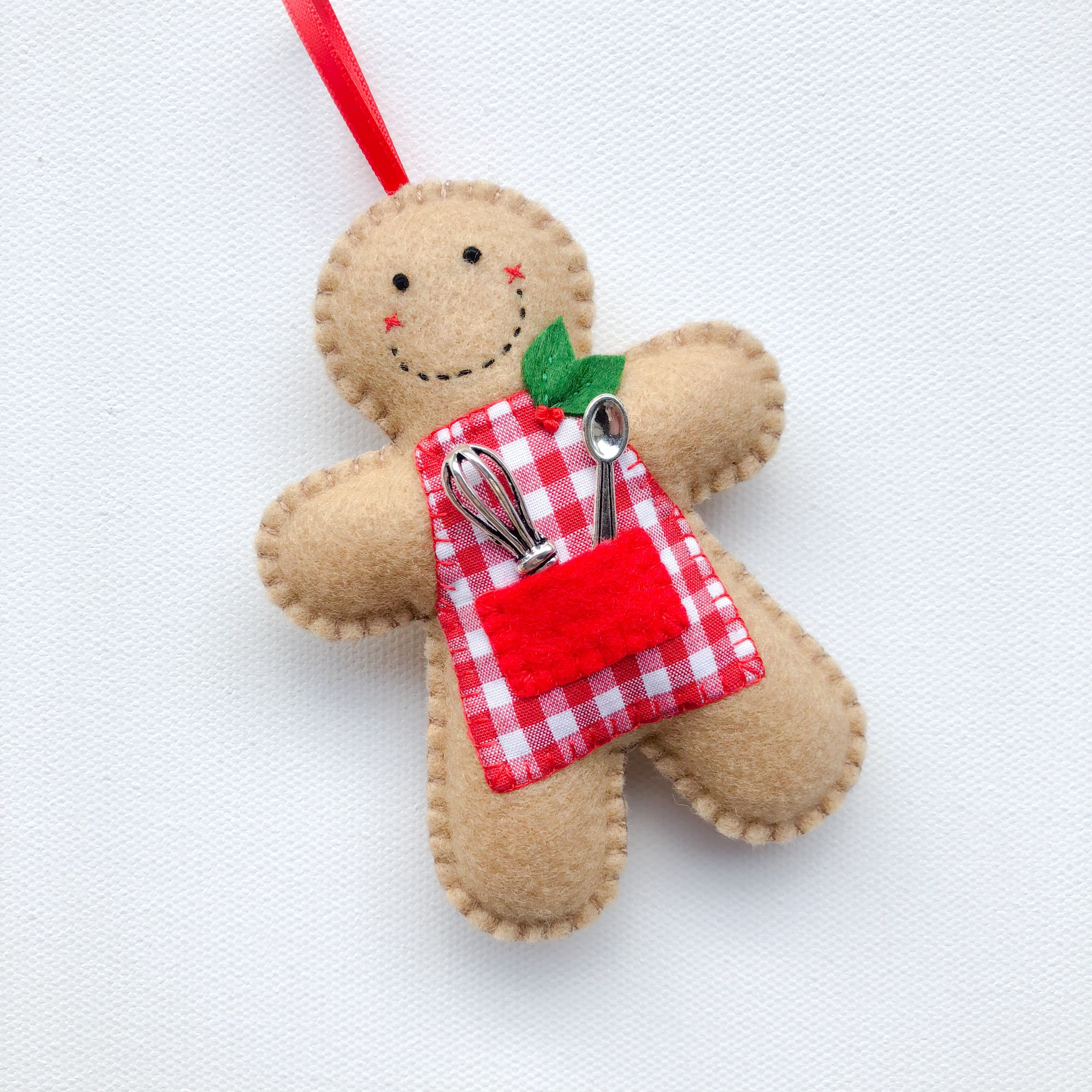 Hand Stitched Felt Gingerbread Man Ornament Felt Crafts