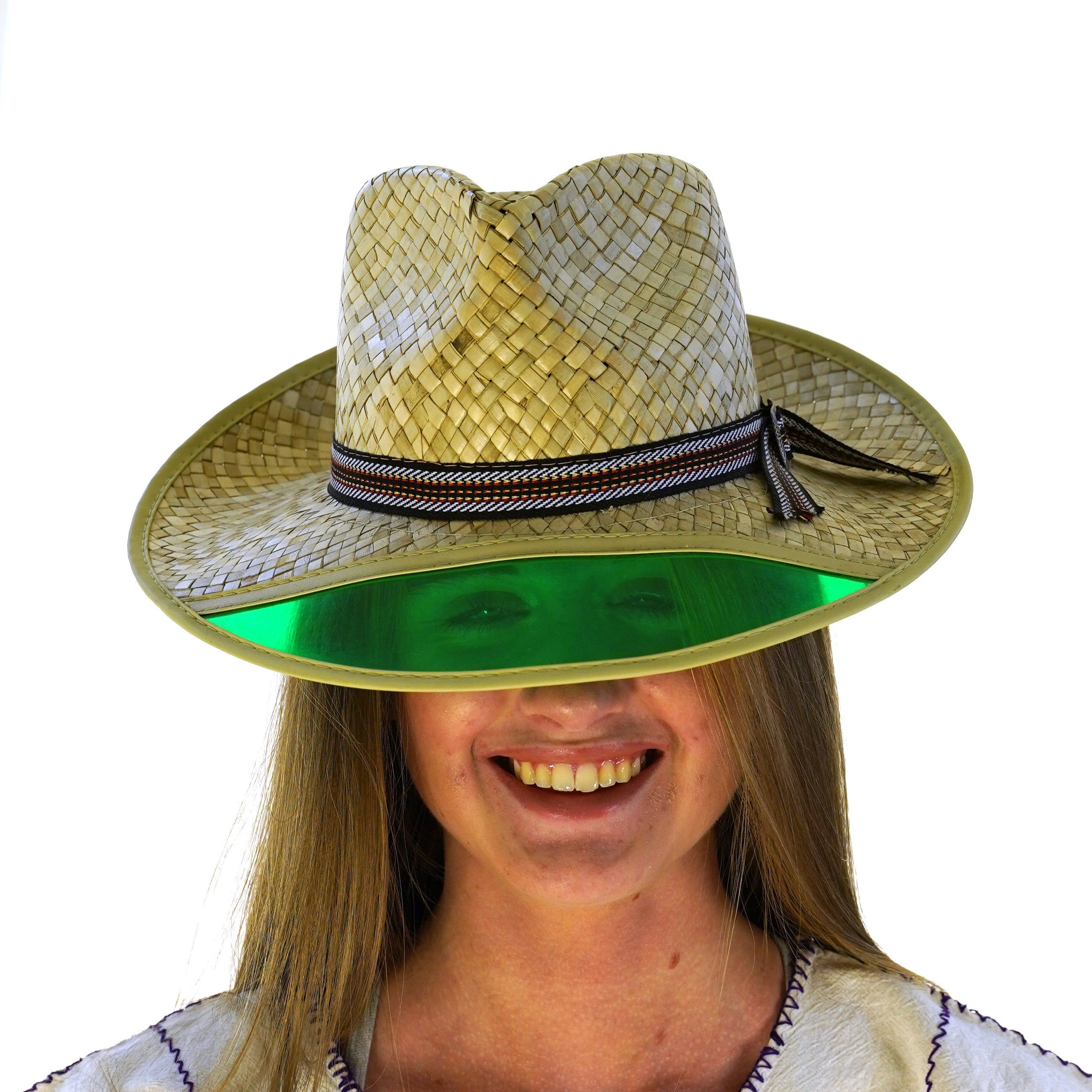 Old Man Straw Hat With Green Plastic Visor Vintage 80s Straw Hat Weird Vintage Vintage