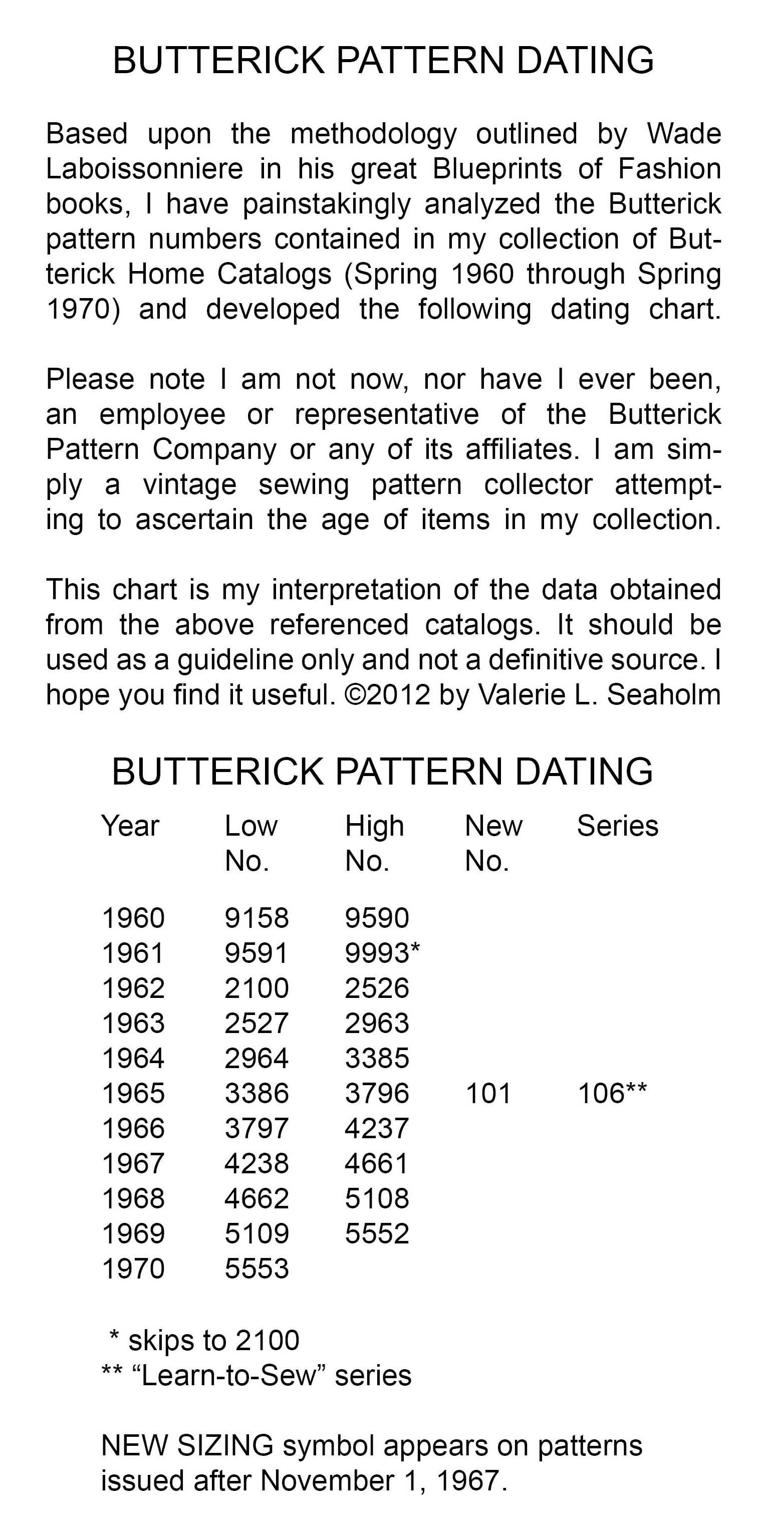 Butterick pattern dating