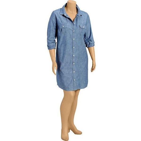 Old Navy Womens Plus Chambray Shirt Dresses - Chambray blue