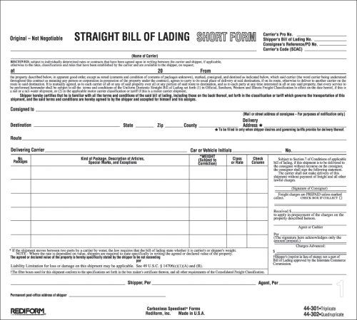Rediform Bill Of Lading, Snap-A-Way, Ruled, 3-Part, Carbonless - bill of lading forms