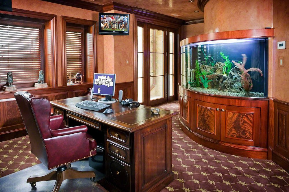 Executive Home Office With Aquarium Wall Traditional New York