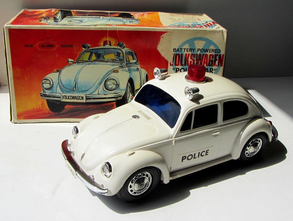 VW beetle 1960s - vintage police car toy