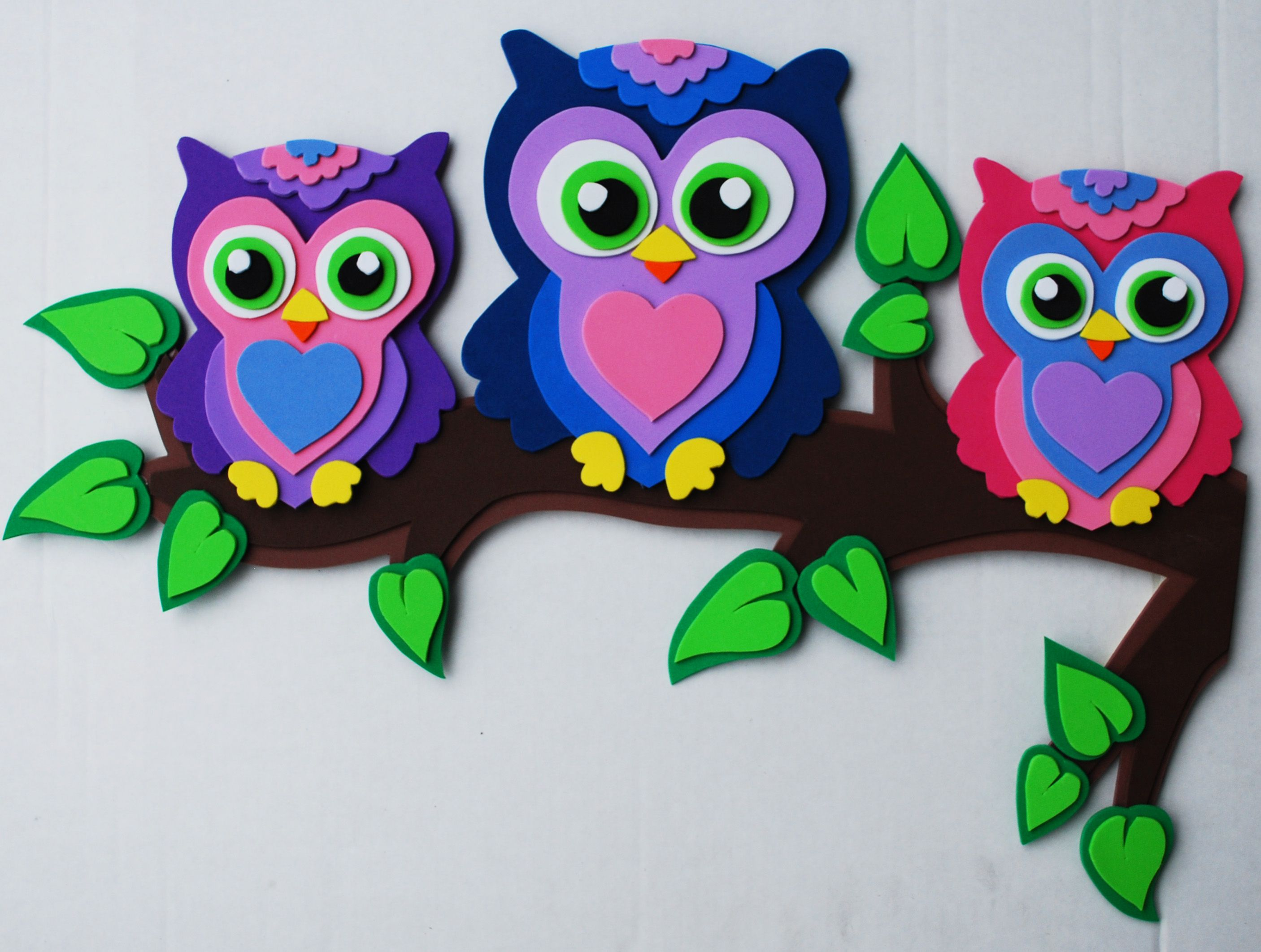owls in foam craft sheets my foamfriends creations pinterest