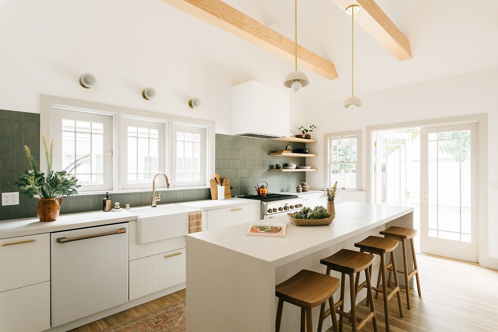 This Pasadena Kitchen Is Now Open And Airy Thanks To One Structural Change In 2020 Tall Kitchen Cabinets Kitchen Ceiling Vaulted Ceiling Kitchen