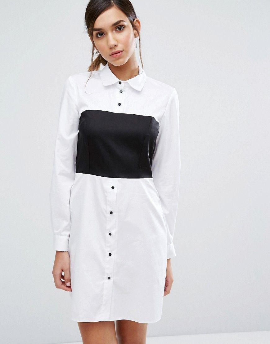 Vestido camisero de manga larga con detalle estilo corsé de Closet London
