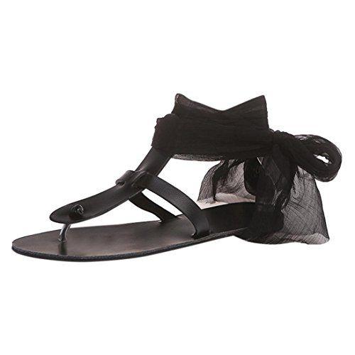 Femmes Bohême Sandales à Talon Plate Femmes Printemps été Tongs Femmes  Chaussures de Plage Ballerine Escarpin Chaussures de Sport Sandales en Cuir  GongzhuMM ... c5944dc19a51